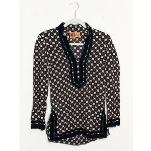 Tory Burch Printed Cotton Solid Trim Top Size 0
